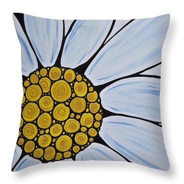 Big White Daisy Throw Pillow by Sharon Cummings