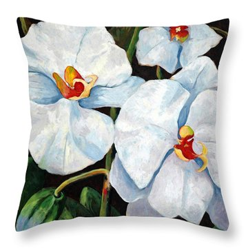 Big White Orchids - Floral Art By Betty Cummings Throw Pillow by Sharon Cummings