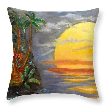 Big Yellow Sun Throw Pillow