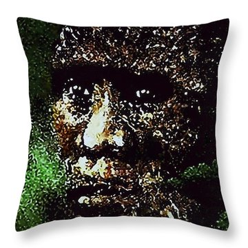Throw Pillow featuring the painting Bigfoot  Mystery by Hartmut Jager