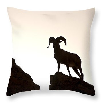 Bighorn Ram Silhouette Throw Pillow