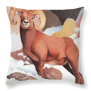 Bighorn Sheep Winter Throw Pillow