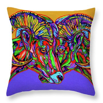 Bighorn Sheep Throw Pillow by Derrick Higgins