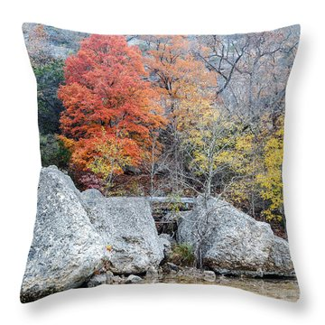 Bigtooth Maple And Rocks Fall Foliage Lost Maples Texas Hill Country Throw Pillow by Silvio Ligutti