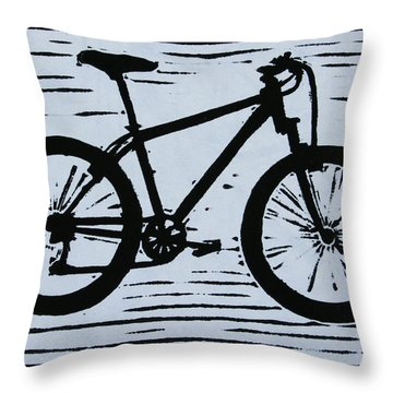 Throw Pillow featuring the drawing Bike 10 by William Cauthern