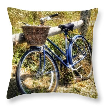 Throw Pillow featuring the photograph Bike At Nantucket Beach by Tammy Wetzel