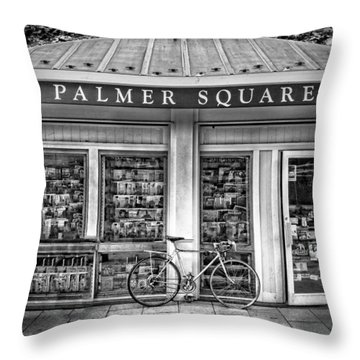 Bike At Palmer Square Book Store In Princeton Throw Pillow by Ben and Raisa Gertsberg