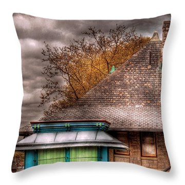 Bike - At The Train Station Throw Pillow by Mike Savad