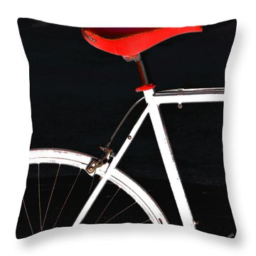 Bike In Black White And Red No 1 Throw Pillow