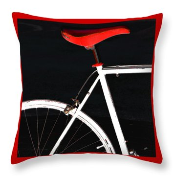 Bike In Black White And Red No 1 Throw Pillow by Ben and Raisa Gertsberg