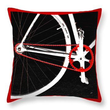 Bike In Black White And Red No 2 Throw Pillow