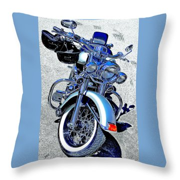 Bike In Blue For Two Throw Pillow by Ben and Raisa Gertsberg