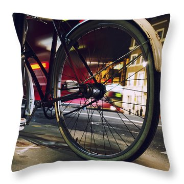 Bike On Whitehall  Throw Pillow