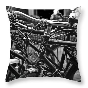 Bike Parking In Switzerland Throw Pillow