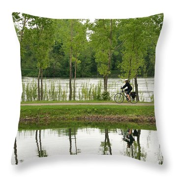 Bike Path Throw Pillow