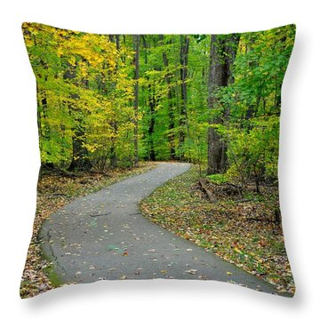 Bike Path Throw Pillow by Frozen in Time Fine Art Photography