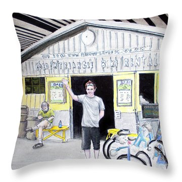 Throw Pillow featuring the drawing Bike Pittsburgh by Albert Puskaric