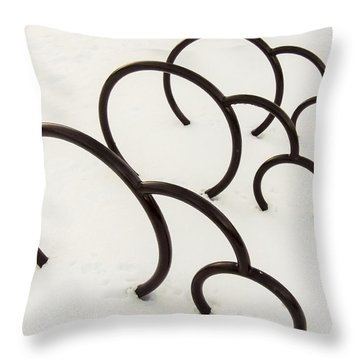 Bike Rack In Snow Throw Pillow