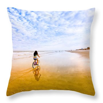 Throw Pillow featuring the photograph Bike Ride On The Beach At Tybee Island by Mark E Tisdale