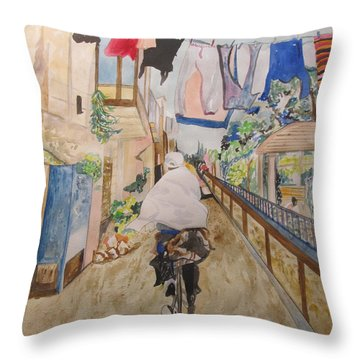 Bike Rider In Jerusalem Throw Pillow by Esther Newman-Cohen