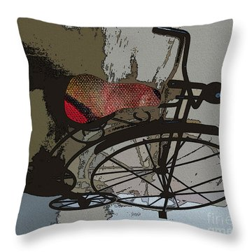 Throw Pillow featuring the painting Bike Seat View by Ecinja