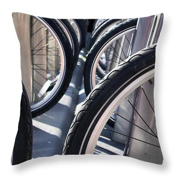 Throw Pillow featuring the photograph Bike Share Tires by John S