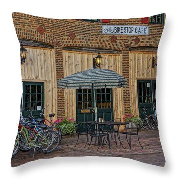 Bike Shop Cafe Katty Trail St Charles Mo Dsc00860 Throw Pillow
