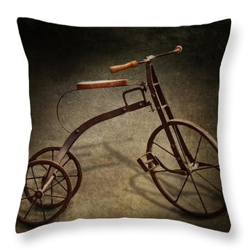 Bike - The Tricycle  Throw Pillow by Mike Savad