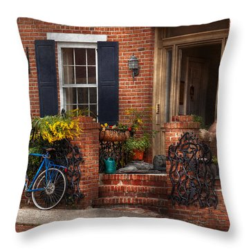 Bike - Waiting For A Ride Throw Pillow by Mike Savad