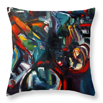 Throw Pillow featuring the painting Bike Warm Up by John Jr Gholson