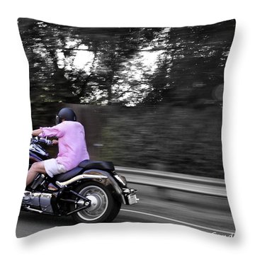 Throw Pillow featuring the photograph Biker by Gandz Photography