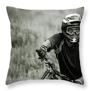 Biker Hikes Up After Hitting Jump Throw Pillow