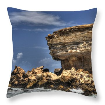 Throw Pillow featuring the photograph Biker On The Rocky Cliff At La Pared by Julis Simo