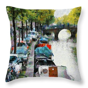 Bikes And Boats In Old Amsterdam Throw Pillow by Mick Flynn
