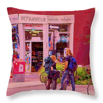 Bikes Backpacks And Cold Beer At The Local Corner Depanneur Montreal Summer City Scene  Throw Pillow by Carole Spandau