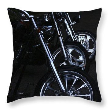 Bikes In The Night Throw Pillow