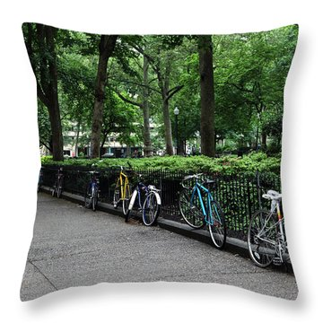 Throw Pillow featuring the photograph Bikes Relaxing by Dorin Adrian Berbier