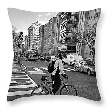 Throw Pillow featuring the photograph Biking The City by John S