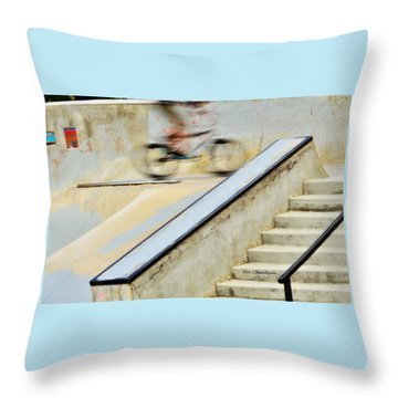 Biking The Skateboard Park Throw Pillow