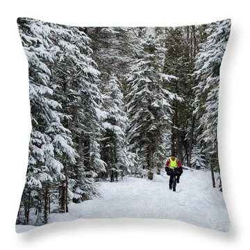 Biking The Wilderness Throw Pillow
