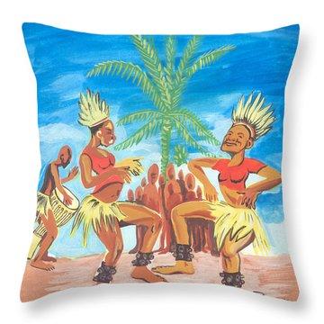Throw Pillow featuring the painting Bikutsi Dance 3 From Cameroon by Emmanuel Baliyanga