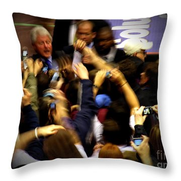 Bill Clinton At Muhlenberg College Throw Pillow by Jacqueline M Lewis