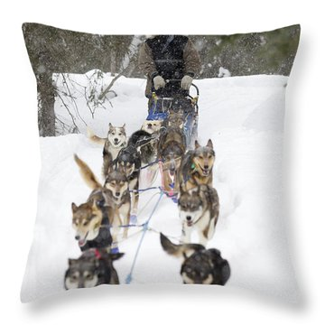 Bill Pinkham On The Trail In A Heavy Throw Pillow by Jeff Schultz