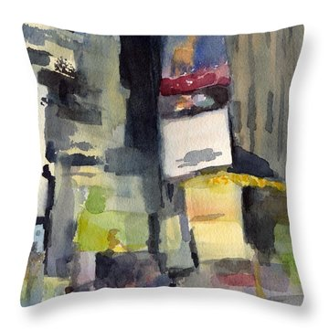 Billboards Times Square At Night Watercolor Painting Of Nyc Throw Pillow