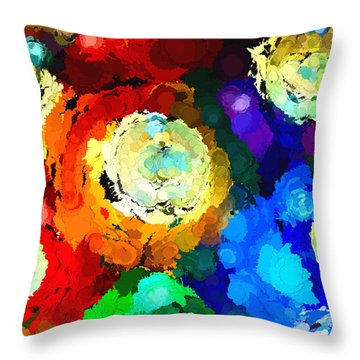 Billiard Balls Abstract Digital Art Throw Pillow by Vizual Studio