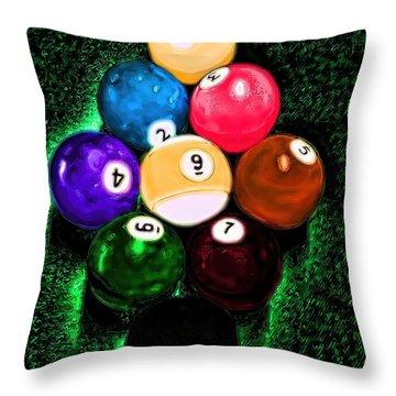 Billiards Art - Your Break Throw Pillow by Lesa Fine