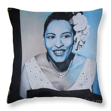 Billie Holiday Throw Pillow by Chelle Brantley