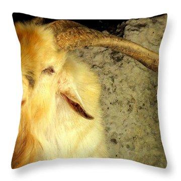 Billy Goat Gruff Throw Pillow by Karen Wiles