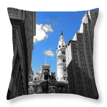 Throw Pillow featuring the photograph Billy Penn Blue by Photographic Arts And Design Studio
