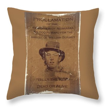 Billy The Kid Wanted Poster Throw Pillow